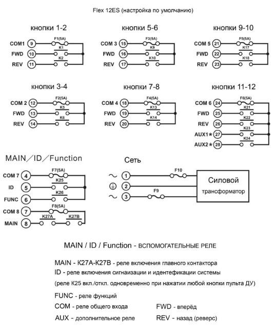 Flex 12ES, 12 кнопок, односкоростной (6-ти позиционный)