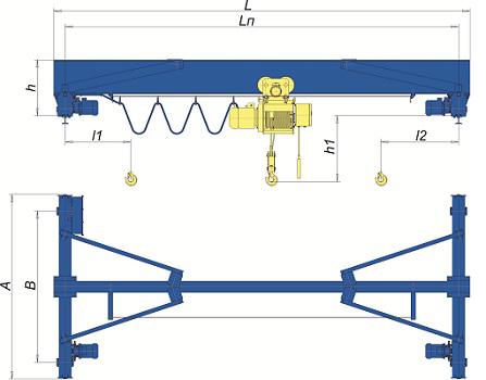 Кран мостовой опорный 3.2 т